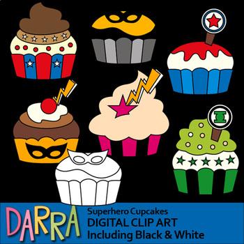 Superhero cupcakes clip art