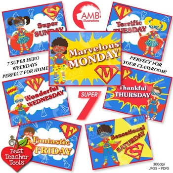 Superhero Clipart, Days of the Week Posters, Classroom Decor, AMB-824