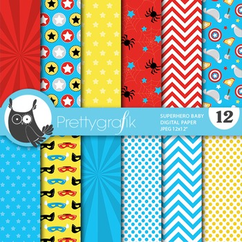 Superhero digital paper, commercial use, scrapbook papers - PS726