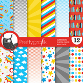 Superhero digital paper, commercial use, scrapbook papers - PS731