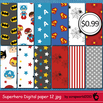 Superhero digital paper, scrapbook papers,pack commersial
