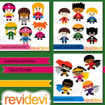 Superhero emotion clipart bundle (3 packs)