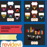 Superhero face mask sign board clip art bundle