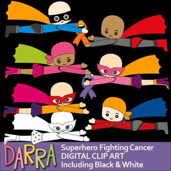 Superhero fighting cancer clip art
