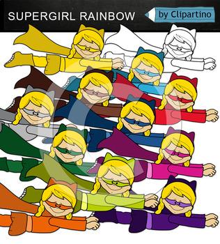 Superhero girl flying (rainbow)