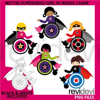 Superhero girl in wheelchair clipart