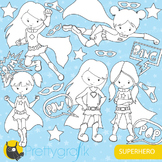 Superhero girl stamps commercial use, vector graphics, images - DS661