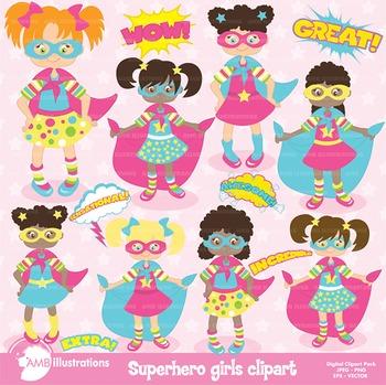 Superhero Clipart, Superhero Girls clipart, AMB-120