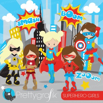 Superhero girls clipart commercial use, graphics, digital clip art - CL884