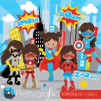 Superhero girls clipart commercial use, graphics, digital clip art - CL888