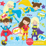 Superhero girls clipart commercial use, vector graphics, digital - CL661
