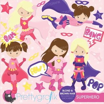 Superhero girls clipart commercial use, vector graphics, digital - CL662