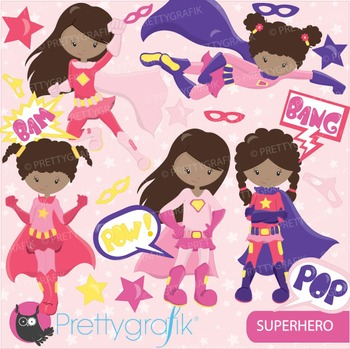 Superhero girls clipart commercial use, vector graphics, digital - CL674