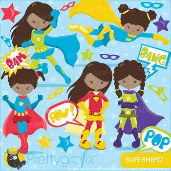 Superhero girls clipart commercial use, vector graphics, digital - CL917