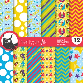 Superhero girls digital paper, commercial use, scrapbook papers - PS684