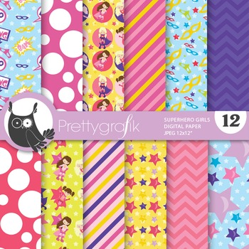 Superhero girls digital paper, commercial use, scrapbook p