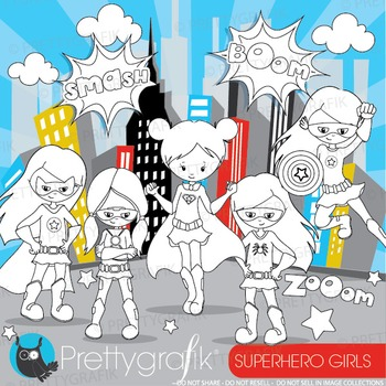 Superhero girls stamps commercial use, vector graphics, im