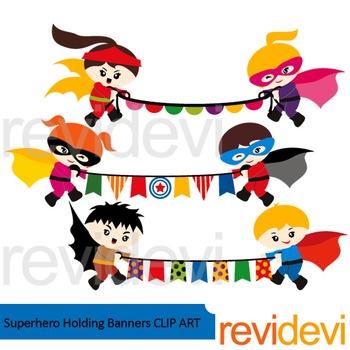Superhero holding banners clip art