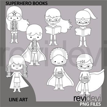 Superhero holding books clip art black and white - commercial use clipart