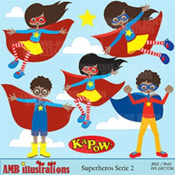 Superhero Kids Clipart, African American clipart pack AMB-482