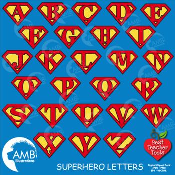 Superhero Clipart, Superhero Letters, Superhero Alphabets Clip art, AMB-481
