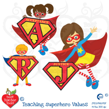 Superhero letters Clipart, superhero alphabets and values!  Teach values AMB-493