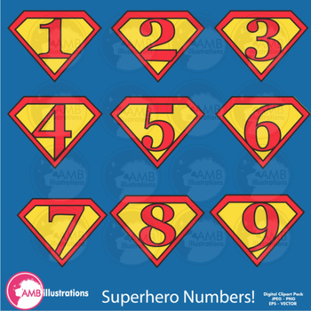 Superhero Clipart , Numbers Clipart, Superhero Numbers Clip art, AMB-494
