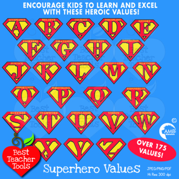 Superhero Letters with Inspirational values, Alphabet Clipart, AMB-488