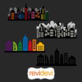 Superhero long buildings block city skyline clipart