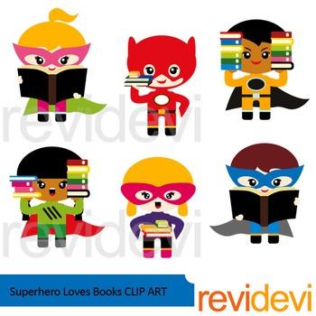 Superhero loves books clip art