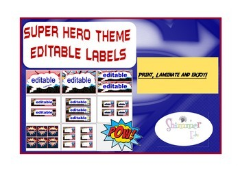 Super hero  inspired theme labels back to school decor
