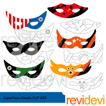 Superhero masks clip art