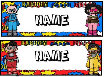 Superhero editable nametags, desk plates, lunch choices, numbers