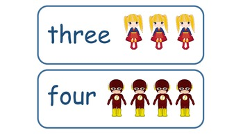 Superhero number Word Cards