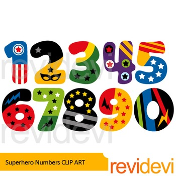 Superhero numbers clip art