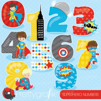 Superhero numbers clipart commercial use, graphics, digital clip art - CL906