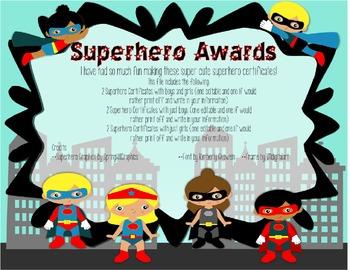 Superhero of the Week Certificate **EDITABLE