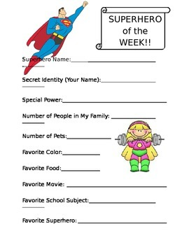 Superhero of the Week - Special Student Information Sheet