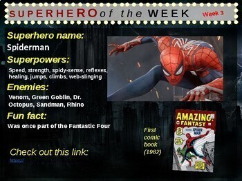 Superhero of the Week - facts and clips for 36 superheroes (24 male, 12 female)