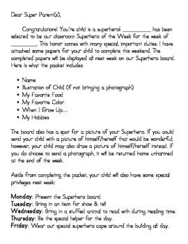 Superhero of the Week letter