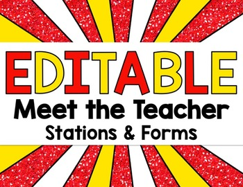 Superhero or Carnival Editable Meet and Greet Bundle with Back to School Forms