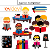 Superhero reading clip art