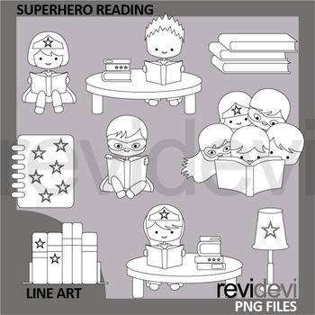 Superhero reading clipart in black and white design