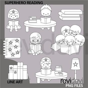 Superhero reading clipart in black and white design