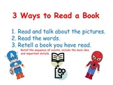 Superhero reading posters-3 Ways to Read a Book, I Pick an