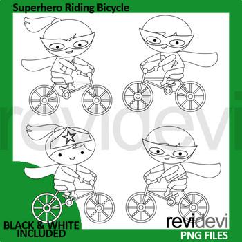 Superhero rides bike clip art / bicycle riding clipart