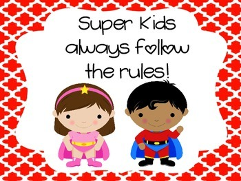 Superhero rules and behavior chart