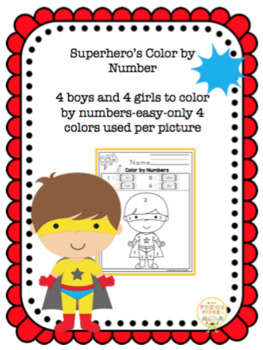 Superhero's Color by Numbers