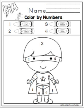 Superhero's Color by Numbers by Preschool Printable | TpT