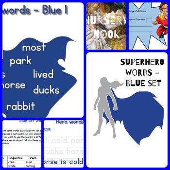 Superhero sight word program - Blue set (Set 4 of 5)